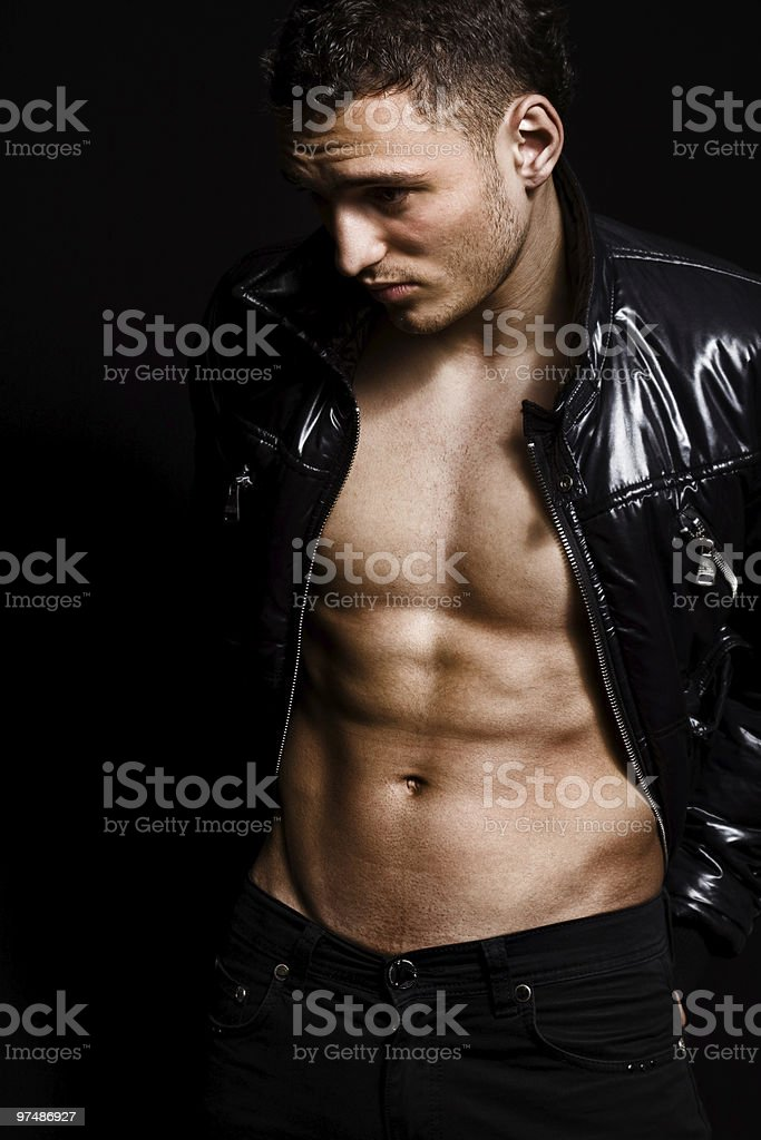 Fashion shot of muscular sexy handsome man royalty-free stock photo