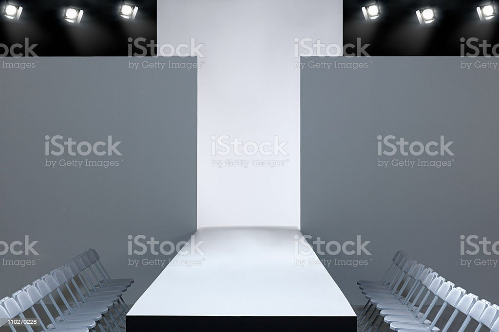 Fashion show and empty catwalk stock photo