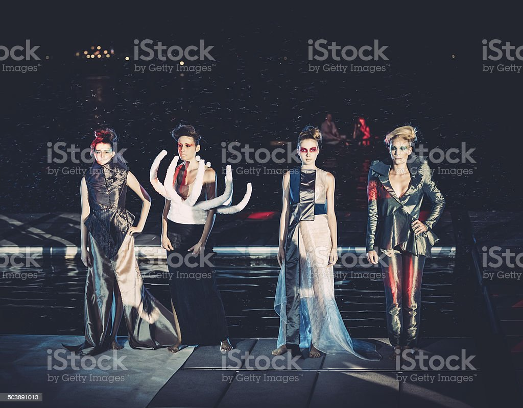 Fashion Show At Night stock photo