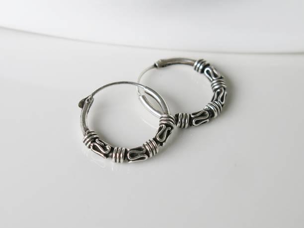Fashion Silver Earrings Bali Hoop Black Oxidized – zdjęcie