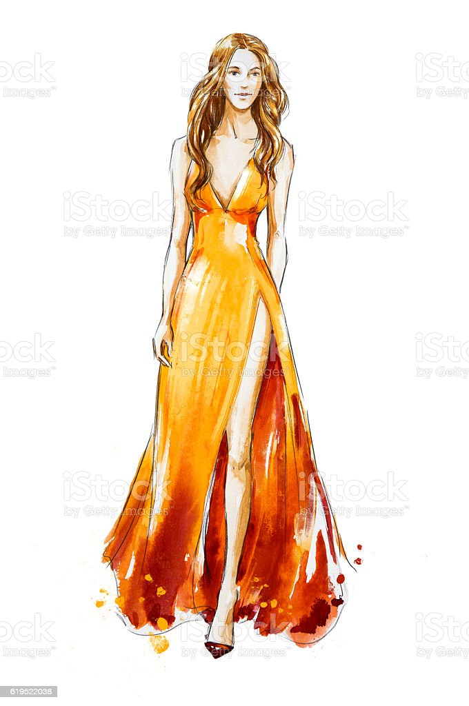 Fashion sketch. Watercolor dress. Catwalk - foto de stock