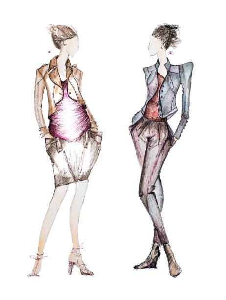croquis de mode - croquis de stylisme de mode photos et images de collection