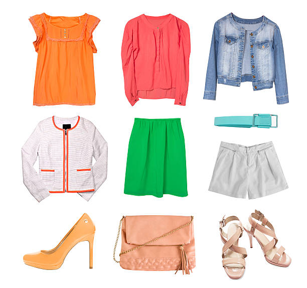 fashion spring clothes set collage isolated. - spring fashion stock pictures, royalty-free photos & images