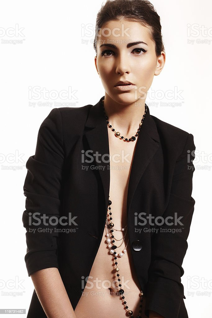 Fashion style. Woman model in black jacket stock photo