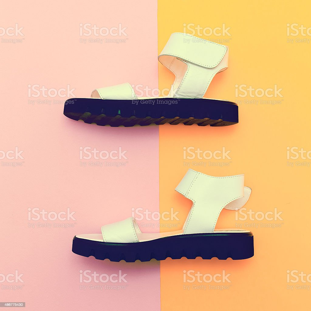 Fashion summer shoes. Sandals. stock photo