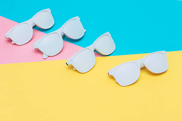 fashion sunglasses in white - pop art stock photos and pictures
