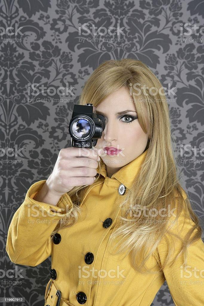 fashion Super 8mm camera reporter woman vintage royalty-free stock photo