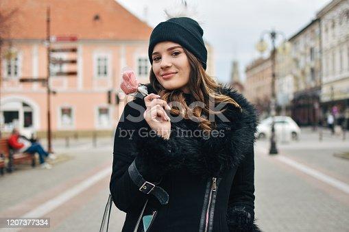 529664088 istock photo Fashion sweet woman having fun with lollipop 1207377334