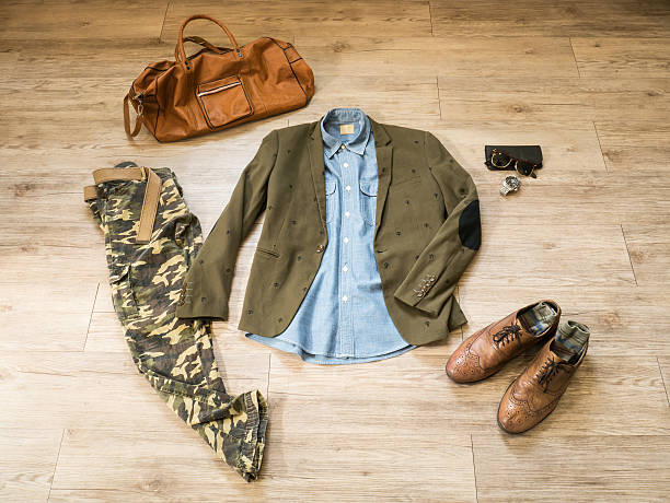 Fashion vintage male outfit, cloth and accessories stock photo
