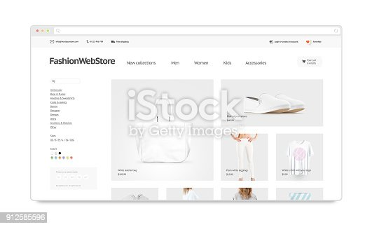 istock Fashion webstore site template mock up isolated 912585596