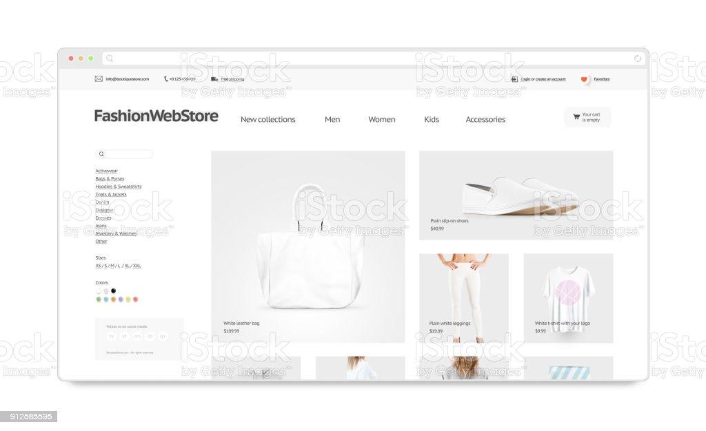 Mode-Webstore-Website-Vorlage mock-up isoliert – Foto