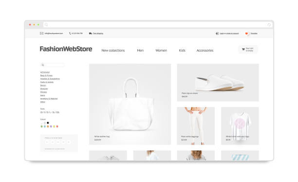 Fashion webstore site template mock up isolated Fashion webstore site template mock up isolated, 3d illustration. Clothing web page interface mockup. Internet website template. Web store screen layout for computer display. website stock pictures, royalty-free photos & images