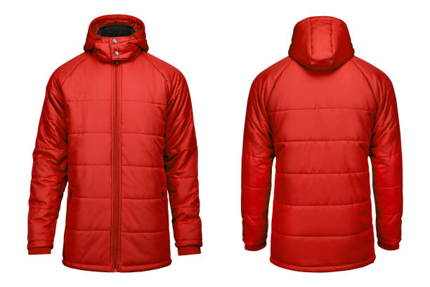 fashion winter red jacket,  clipping path isolated white background. - giacca foto e immagini stock