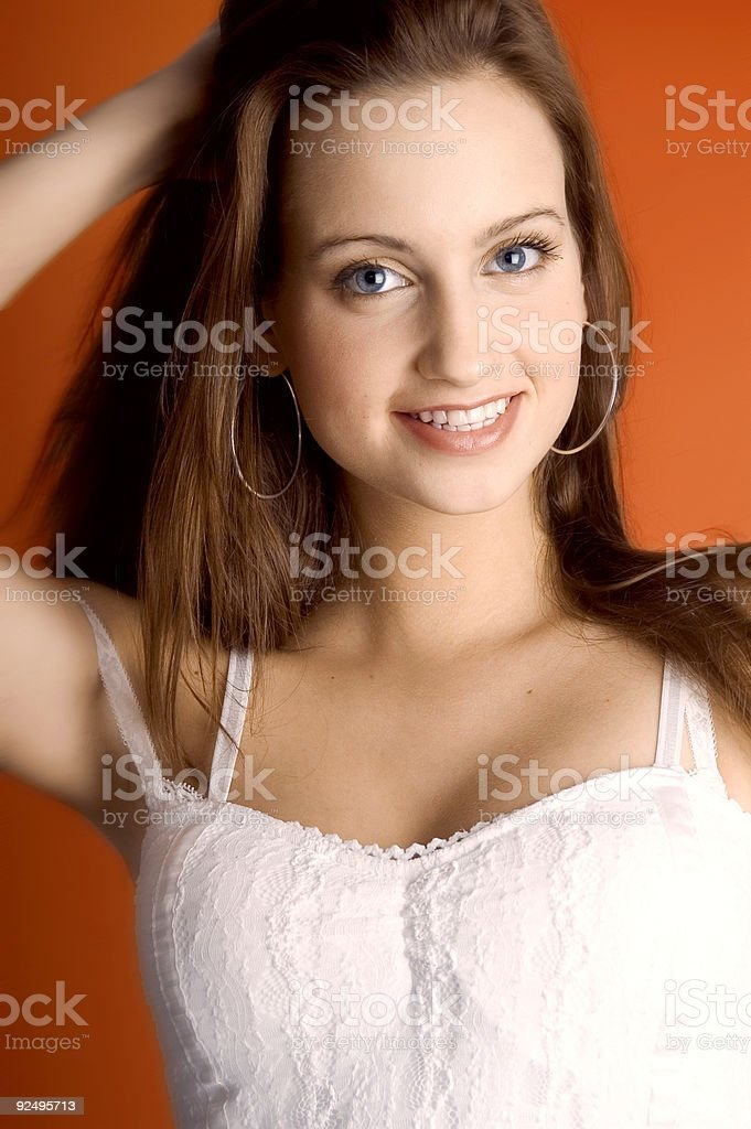Fashion With Orange Backround royalty-free stock photo