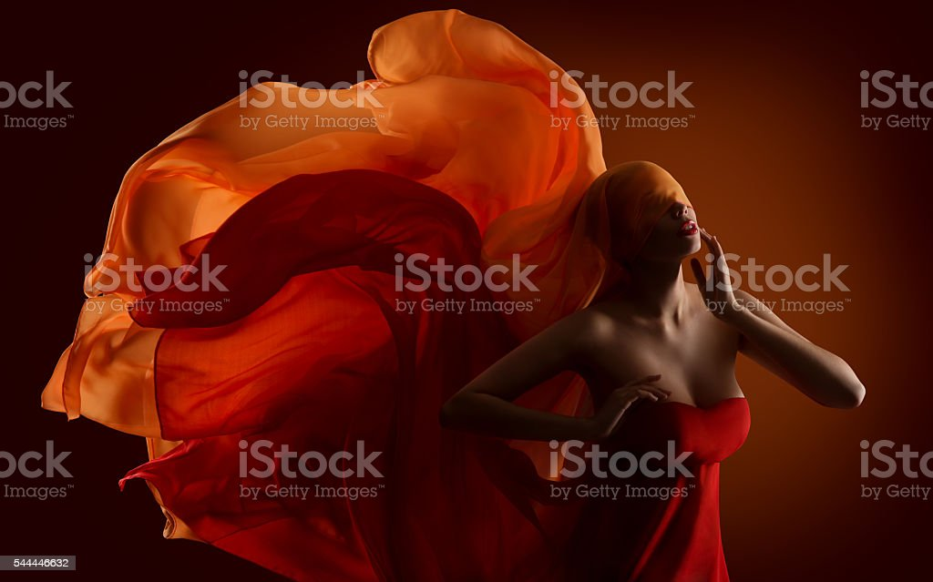 Fashion Woman Fabric Face, Dance Silk Cloth Waving On Wind stock photo
