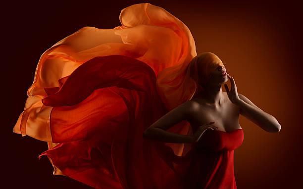 fashion woman fabric face, dance silk cloth waving on wind - tanz make up stock-fotos und bilder