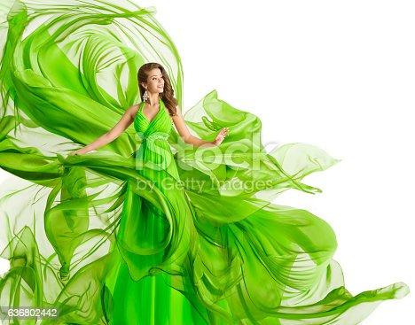 istock Fashion Woman Flying Dress, Green Gown Waving Chiffon Fabric, White 636802442