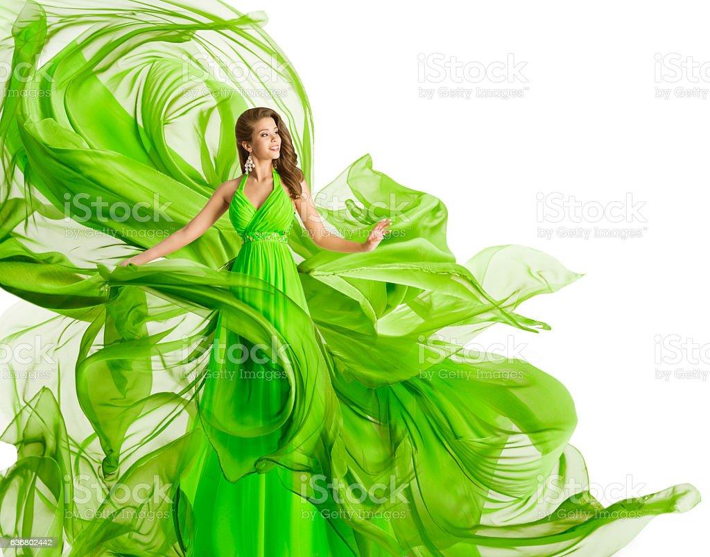Fashion Woman Flying Dress, Green Gown Waving Chiffon Fabric, White stock photo