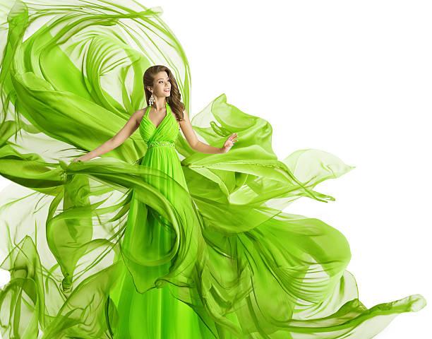 fashion woman flying dress, green gown waving chiffon fabric, white - lange abendkleider stock-fotos und bilder