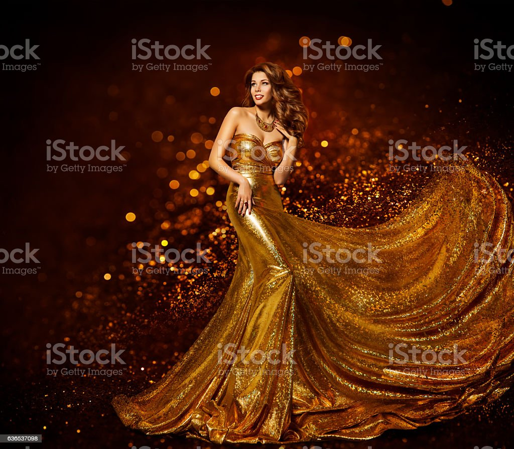 Fashion Woman Gold Dress, Girl Elegant Golden Fabric Gown stock photo