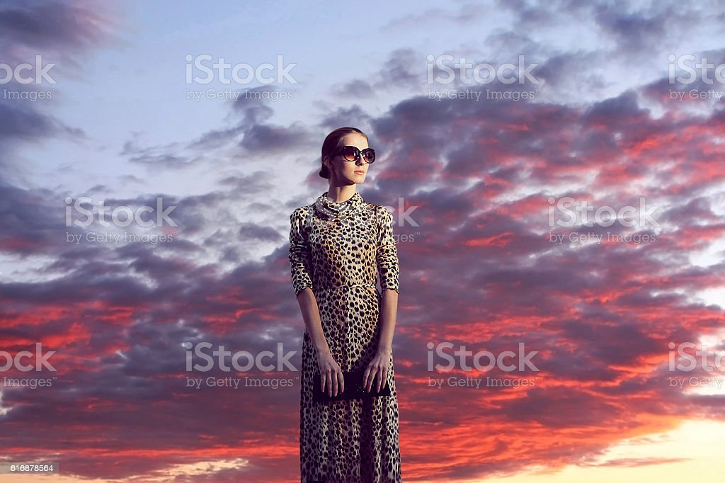 Fashion woman in dress leopard over sunset sky clouds landscape stock photo