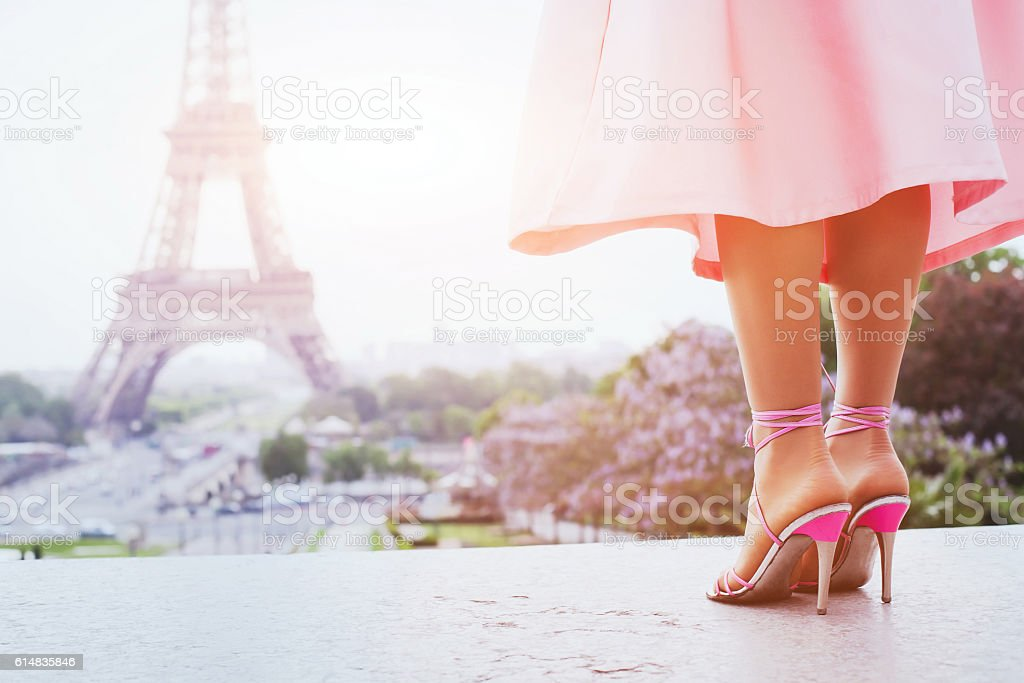 fashion woman in Paris, shoes on high heels stock photo