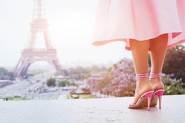 fashion woman in paris, shoes on high heels - paris fashion stock photos and pictures