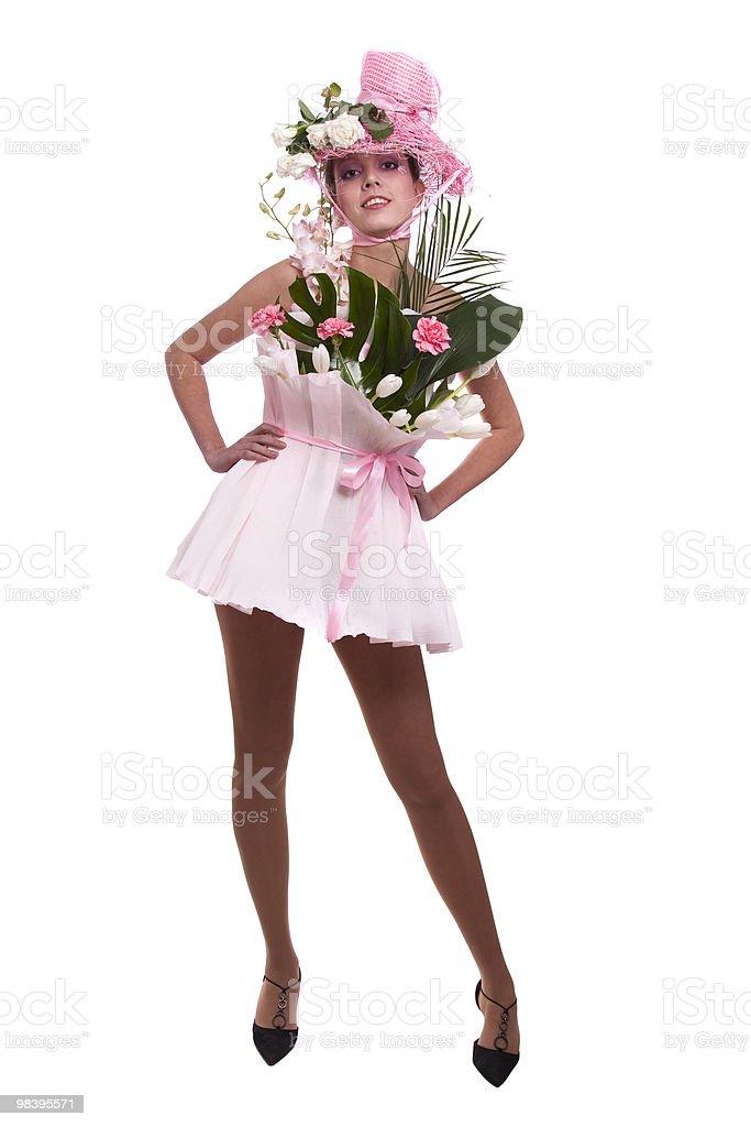 패션 여자 는 꽃다발. royalty-free 스톡 사진