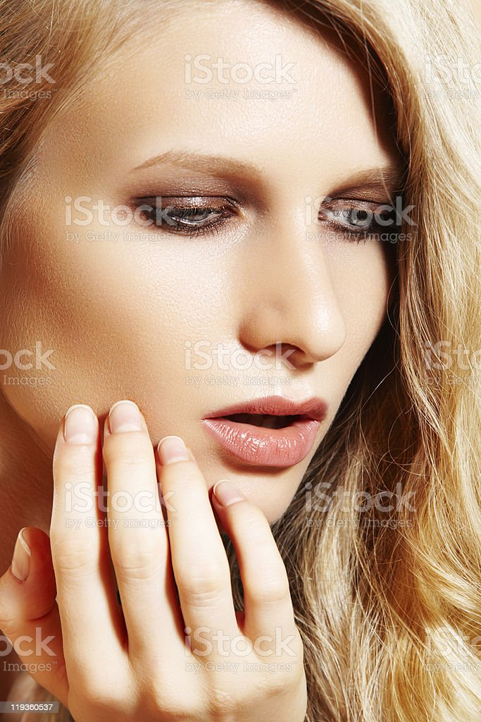 Fashion woman model with perfect long hair and clean skin stock photo