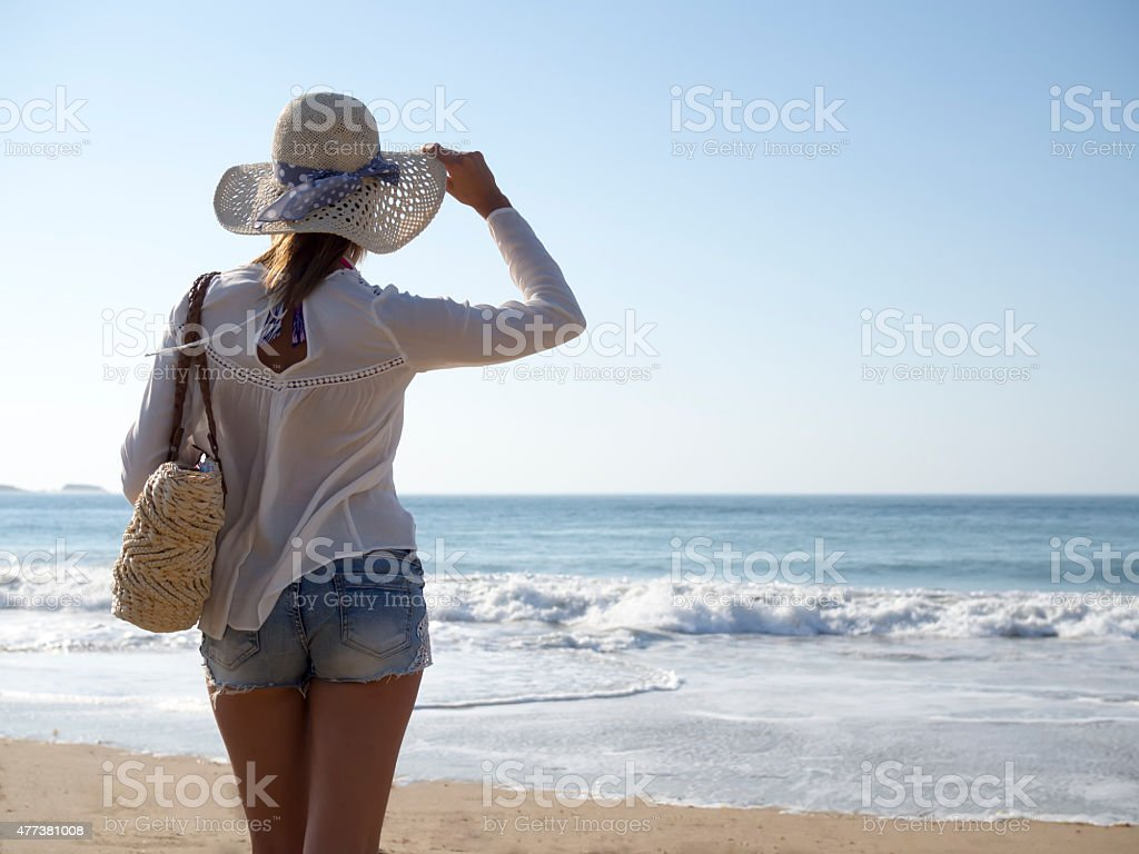 Fashion woman on beach stock photo