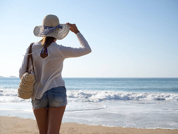 fashion woman on beach - young singles stock photos and pictures