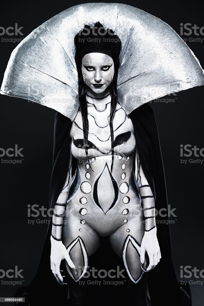 Fashion Woman Painted In Black And Silver Body Art Stock Photo Download Image Now Istock