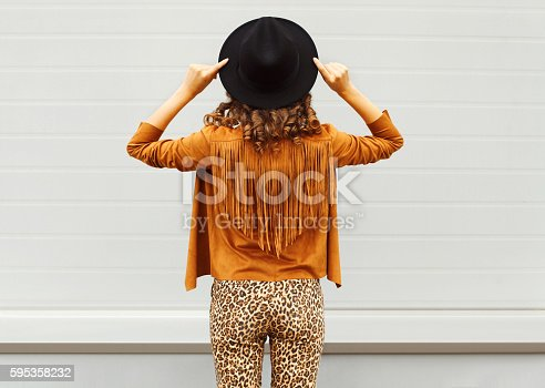 istock Fashion woman view from back wearing black hat, sunglasses jacket 595358232