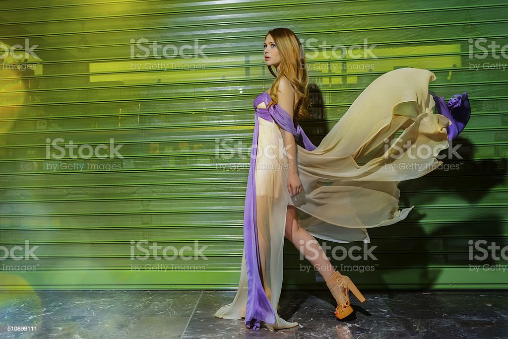 fashion woman walking stock photo