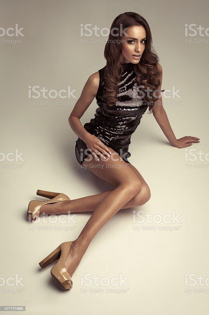 Fashion woman wearing black dress stock photo