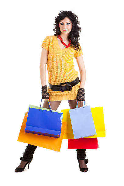 Fashion woman with color packages stock photo