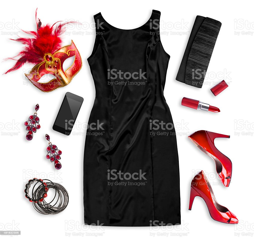 Fashion women accessories of carnival costume isolated on white stock photo