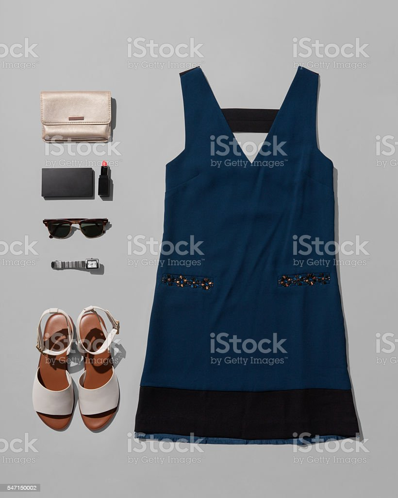 Fashion women accessories of  costume isolated on gray backgroun stock photo