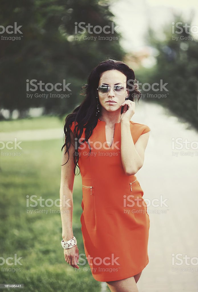 fashion young brunette  in the city royalty-free stock photo