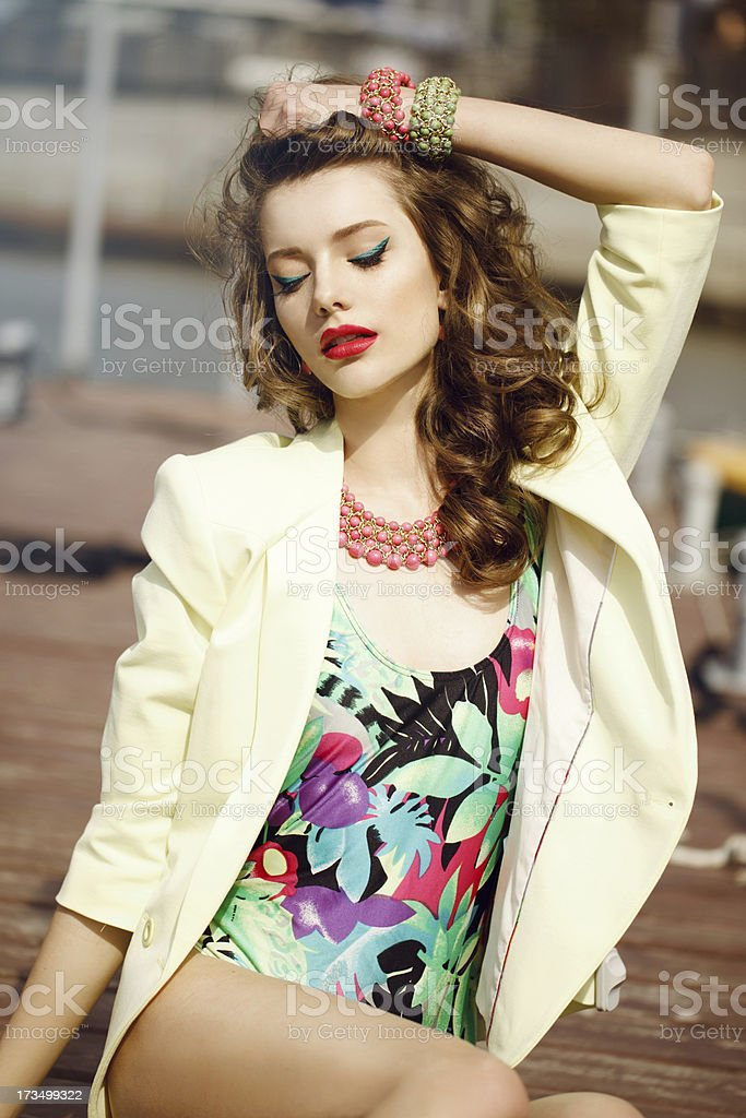 Fashion young woman in a port royalty-free stock photo