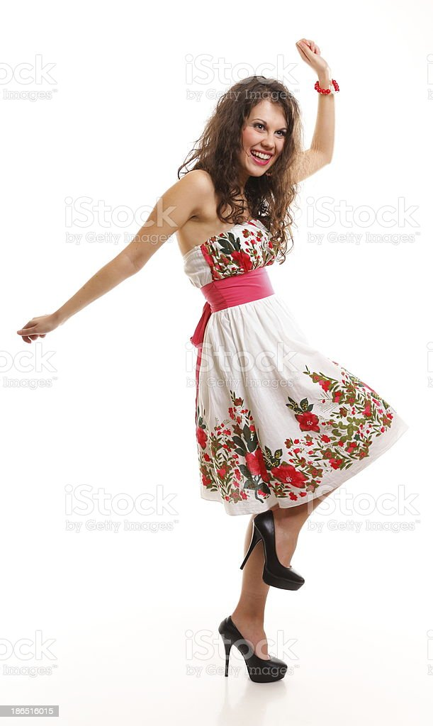Fashion young woman in summer dress on white royalty-free stock photo