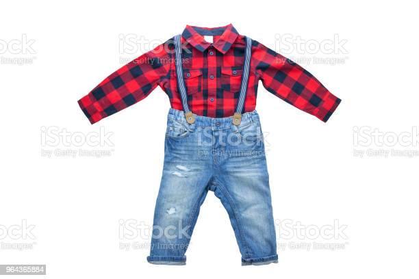 Foto de Moda Jeans Azul Com Chaves Ou Suspensórios Para Menino E Vermelho Camisa Quadriculada Com Uma Manga Longa Isolado Roupas De Crianças e mais fotos de stock de Alemanha