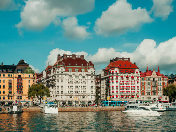 Fashionable buildings on Strandvagen in Ostermalm stock photo