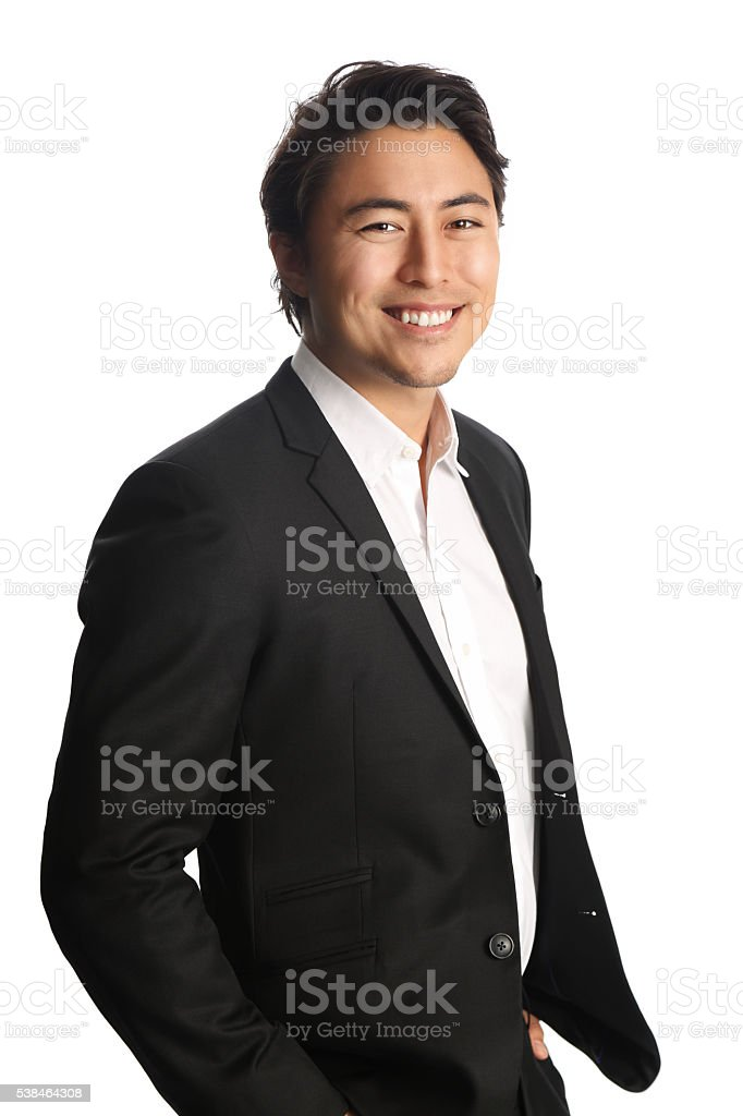 Fashionable businessman in suit stock photo