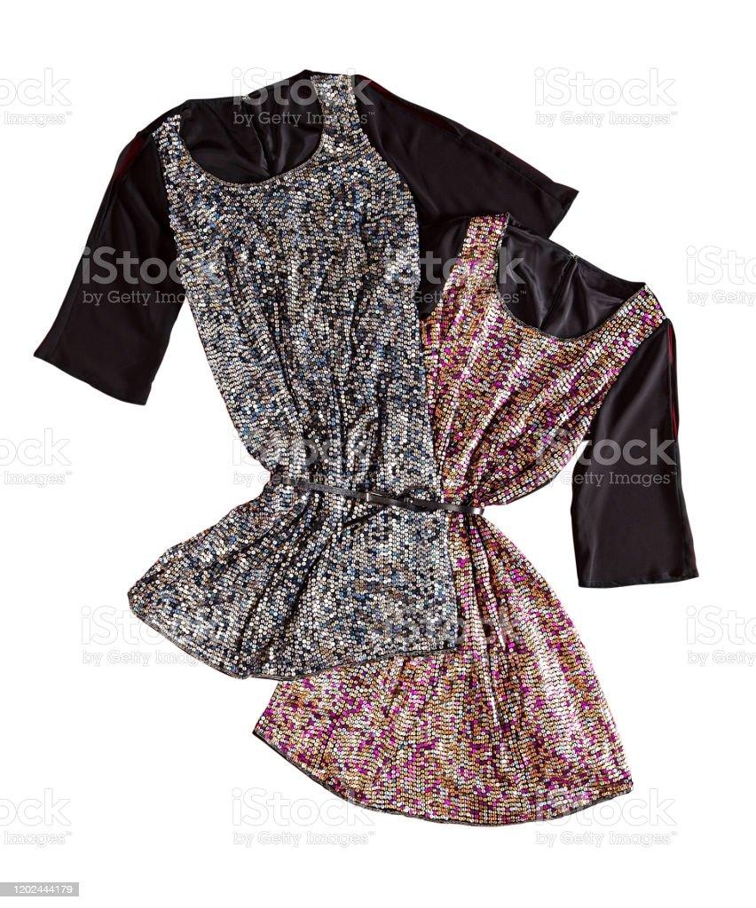 Modische Kleider Isoliert Auf Weißem Hintergrund Stockfoto und