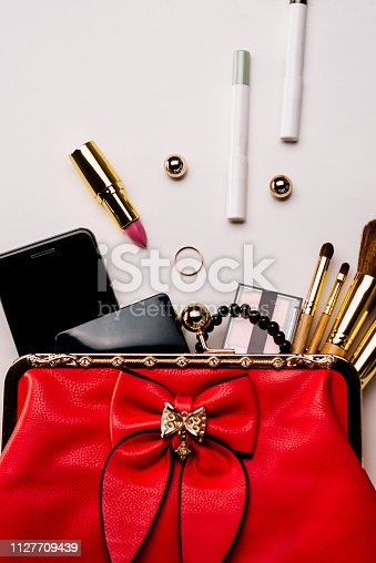 847905020 istock photo Fashionable female accessories brushes smartphone lipstick eyeshadow and red bag. 1127709439