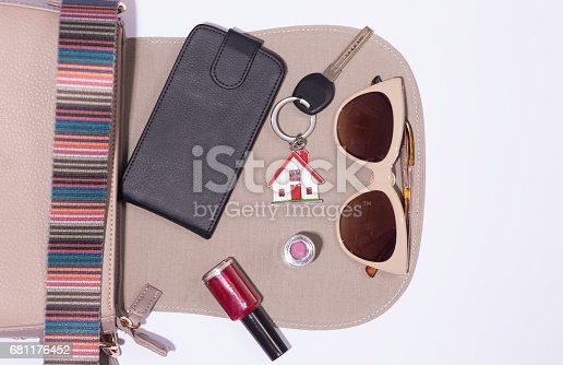 539853444 istock photo Fashionable female accessories in bag 681176452