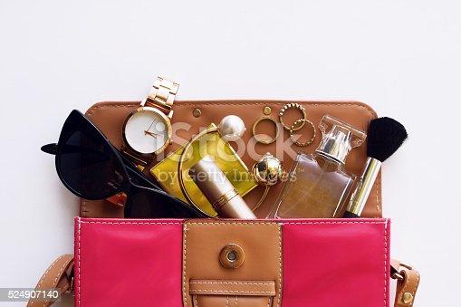 istock Fashionable female accessories. Overhead of essentials 524907140
