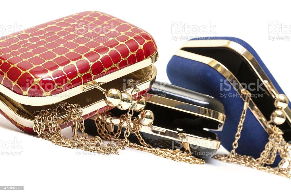 Fashionable female open handbags royalty-free stock photo