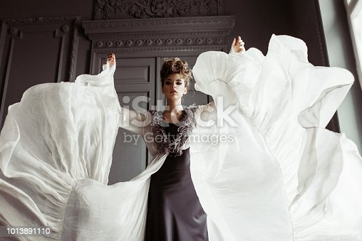 istock Fashionable female portrait of cute lady in dress indoors 1013891110